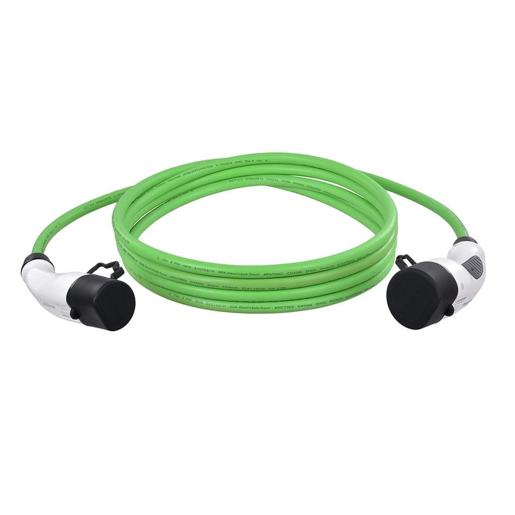 зелен кабел Duosida тип 2 с бели конектори