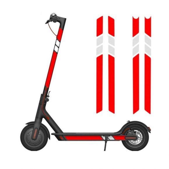 червени и бели светлоотразителни стикери за електрическа тротинетка